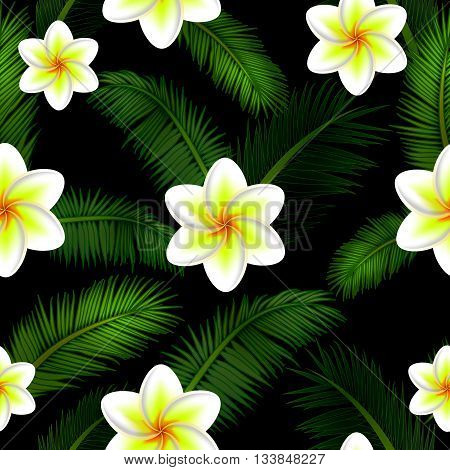Vector Illustration of floral seamless pattern tropical with palm leaves