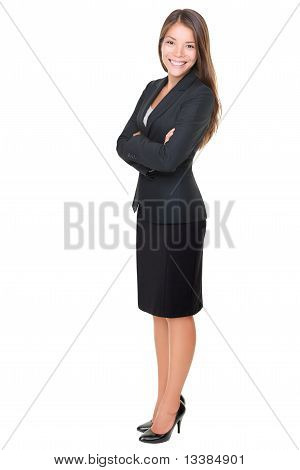Businesswoman Isolated Full Length On White Background