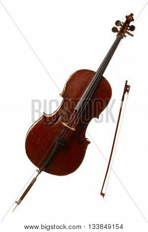 Classical musical instrument - cello isolated on white