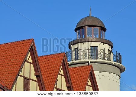 Lighthouse in the fishing village. Kaliningrad, formerly Kenigsberg, Russia