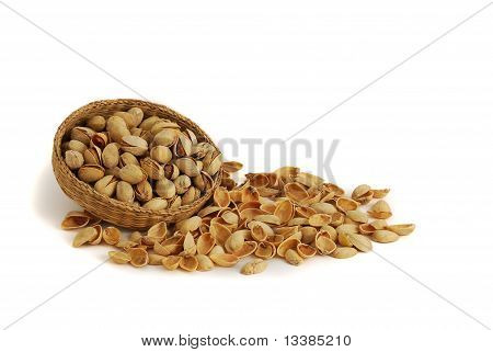 Pistachios In Interwoven Bowl With Spilled Nutshells