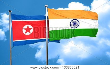 North Korea flag with India flag, 3D rendering