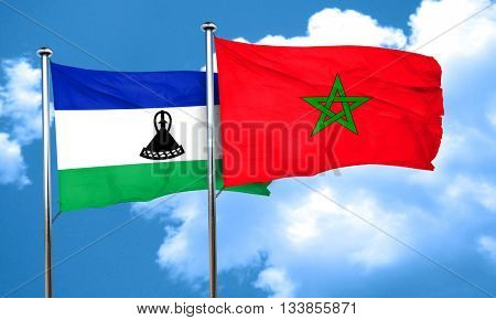 Lesotho flag with Morocco flag, 3D rendering