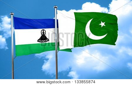 Lesotho flag with Pakistan flag, 3D rendering