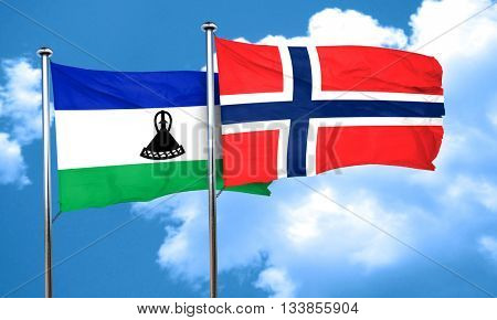 Lesotho flag with Norway flag, 3D rendering
