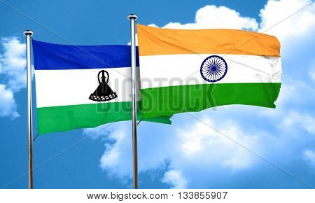 Lesotho flag with India flag, 3D rendering