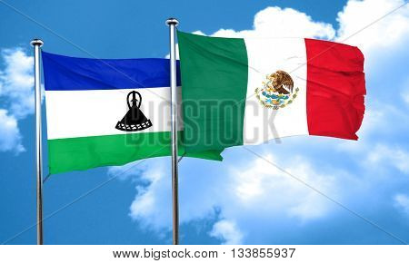 Lesotho flag with Mexico flag, 3D rendering
