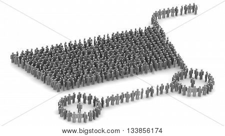Symbol of the grocery cart made up of people. Many symbols of people built in the form of grocery cart. Isolated. 3D Illustration