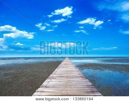 wooden walk-way leading to the tropical sea shore the rich of ecosystem forms on this type of shore