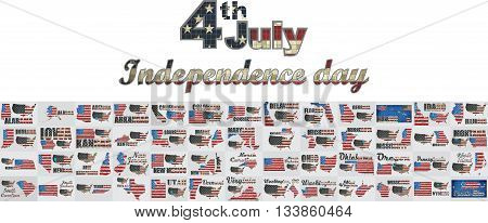 List of states and territories of the United States - Illustration,  US Map Collections,  USA Independence day,  Map of the USA on a brick wall,  Font with the United States flag