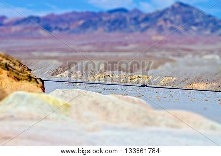 Zabriskie Point, Death Valley, California. Tilt-shift Effect Applied