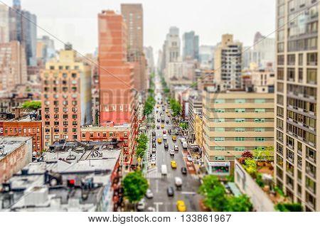 Aerial View Of 1St Avenue, Manhattan. Tilt-shift Effect Applied