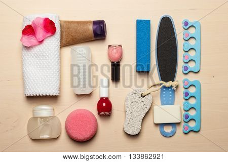 Foot care. Pedicure accessories set tools top view