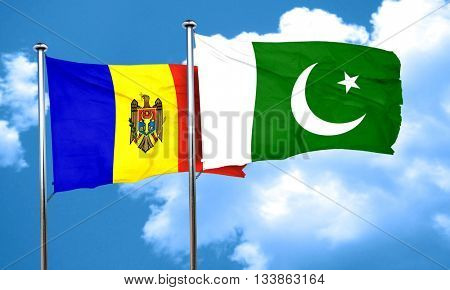 Moldova flag with Pakistan flag, 3D rendering