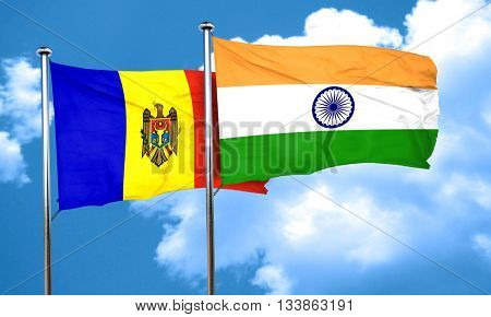 Moldova flag with India flag, 3D rendering