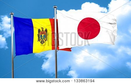 Moldova flag with Japan flag, 3D rendering