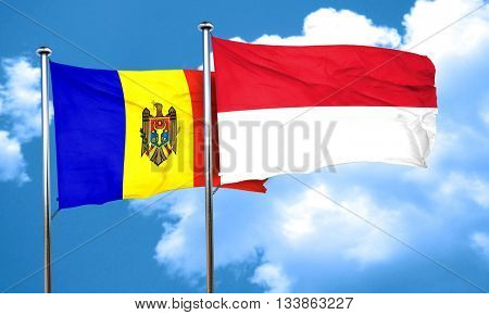 Moldova flag with Indonesia flag, 3D rendering
