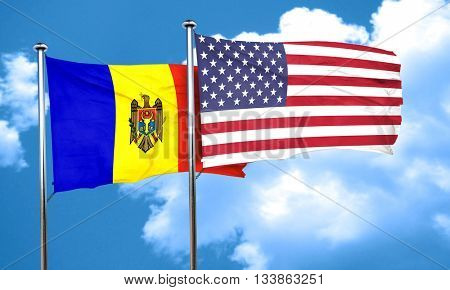 Moldova flag with American flag, 3D rendering