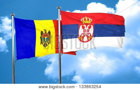 Moldova flag with Serbia flag, 3D rendering
