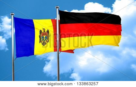 Moldova flag with Germany flag, 3D rendering