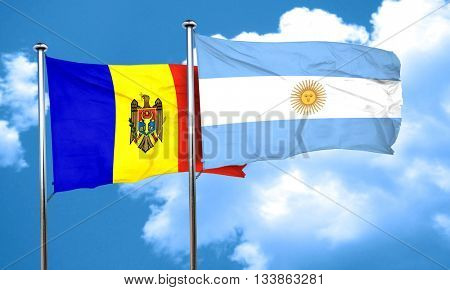 Moldova flag with Argentine flag, 3D rendering