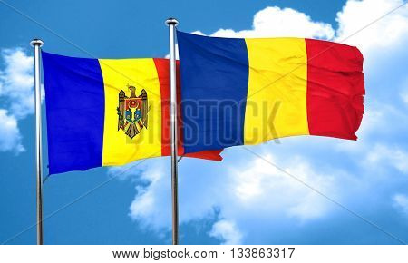 Moldova flag with Romania flag, 3D rendering
