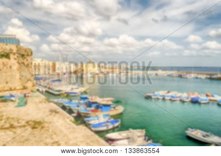 Defocused Background With View Of Gallipoli, Salento, Italy.