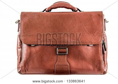 Leather brown briefcase. Isolated on white - stock photo.