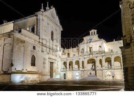 Cathedral Of Lecce, Masterpiece Of Baroque Art In Salento, Italy