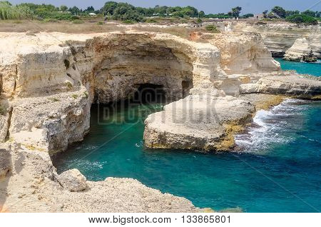 Scenic Rocky Cliffs Of Torre Sant Andrea, Salento, Italy