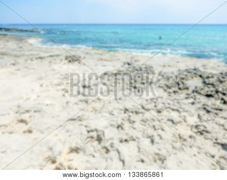 Defocused Background Of Baia Dei Turchi Beach In Salento, Italy