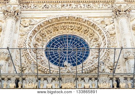 Rose Window, Church Of The Holy Cross. Lecce, Italy