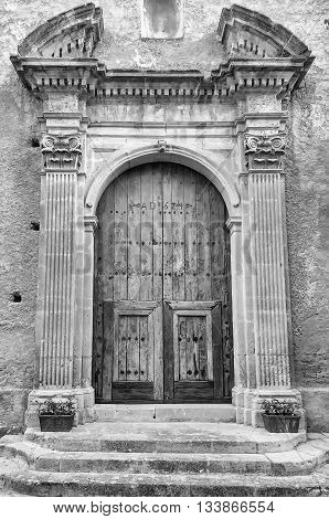 Ancient Door In Old Town Of A Southern Italy Village