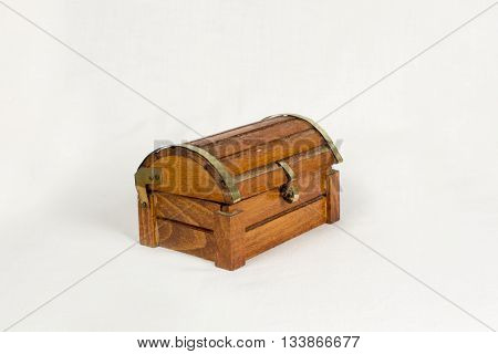 Old treasure casket isolated on white background