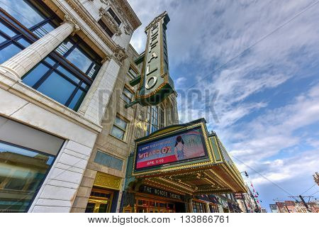 Buffalo New York - May 8 2016: Shea's Performing Arts Center (originally Shea's Buffalo) is a theater for touring Broadway musicals and special events in Buffalo New York.