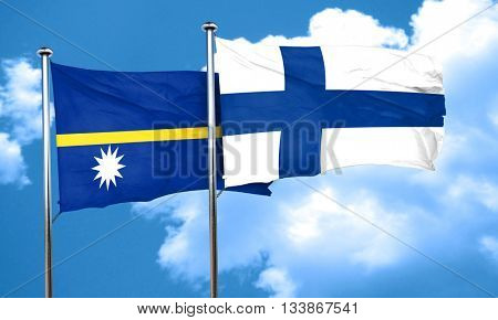 Nauru flag with Finland flag, 3D rendering