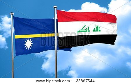 Nauru flag with Iraq flag, 3D rendering