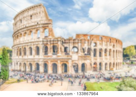 Defocused Background Of The Flavian Amphitheatre, Aka Colosseum In Rome