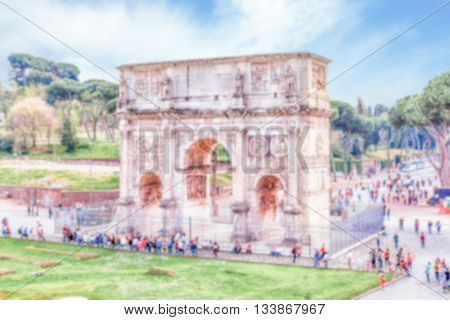 Defocused Background With Arch Of Constantine In Rome, Italy