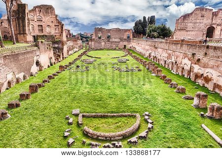 Ruins Of The Stadium Of Domitian, Palatine Hill In Rome