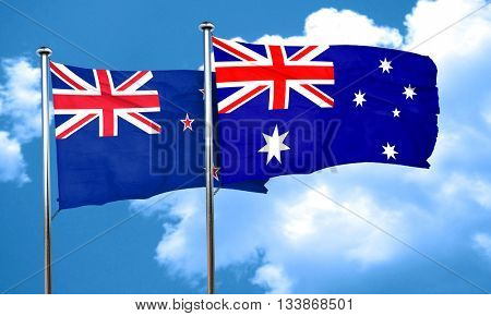 New zealand flag with Australia flag, 3D rendering