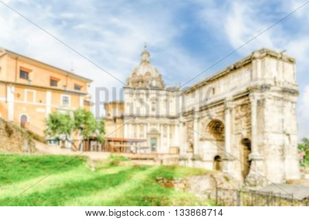 Defocused Background With Arch Of Septimius Severus, Roman Forum, Rome