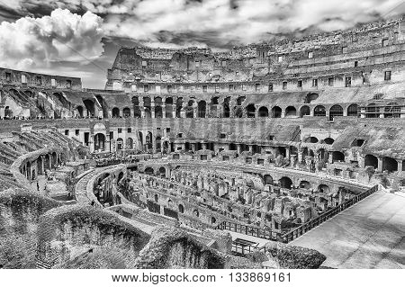 Interior Of The Flavian Amphitheatre, Aka Colosseum In Rome, Italy