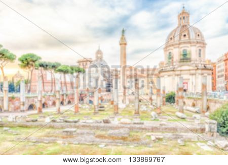 Defocused Background With Scenic Ruins Of The Trajan's Forum, Rome