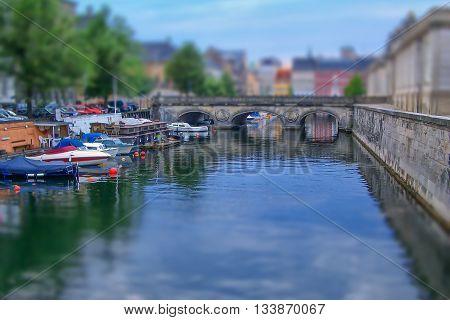Cityscape Of Copenhagen, Denmark. Tilt–shift Effect Applied