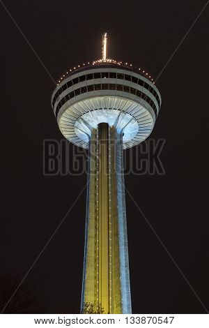 Niagara Falls, Canada - May 7, 2016: The Skylon Tower at Niagara Falls Canada. It is an observation tower that overlooks both the American Falls New York and the larger Horseshoe Falls Ontario from the Canadian side of the Niagara River.