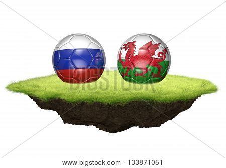 Russia and Wales team balls for football championship tournament, 3D rendering