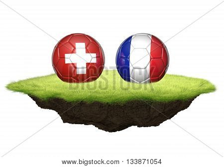 Switzerland and France team balls for football championship tournament, 3D rendering