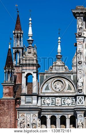 Spires of the Certosa di Pavia are typical of the Lombard architecture and combines Gothic and Renaissance styles. This is one of the largest monasteries in Italy built by Carthusians in 1396-1495.