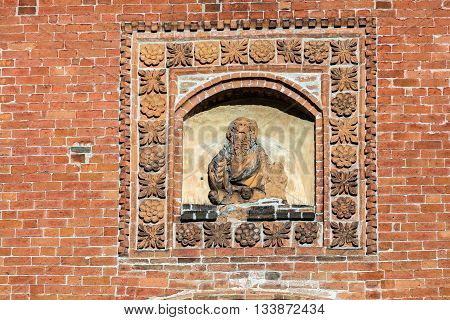 Fragment of the medieval wall decoration of the Santa Maria del Carmine church in Pavia built in 1461.